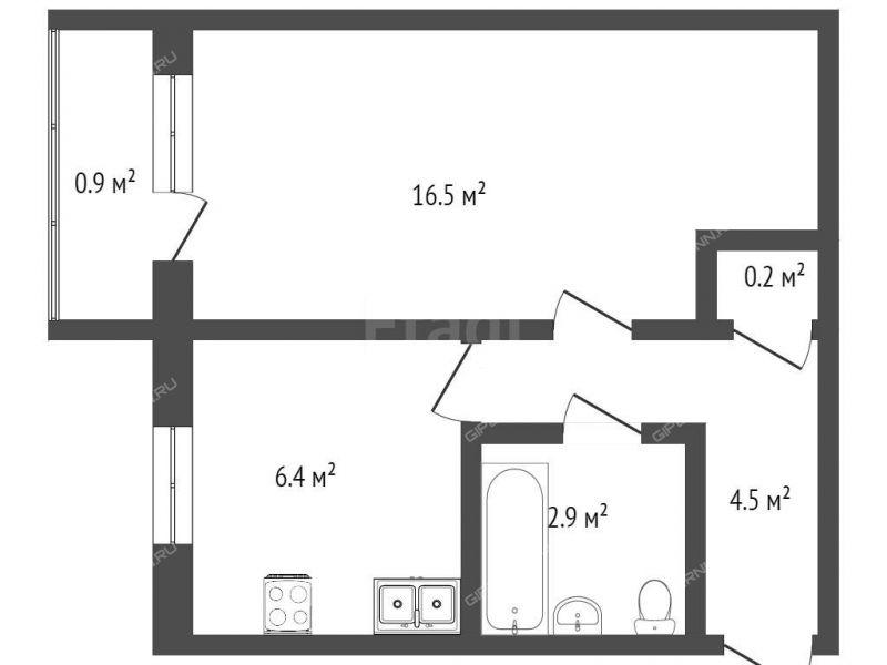 однокомнатная квартира на улице Героя Рябцева дом 18