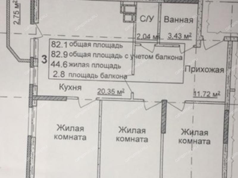 трёхкомнатная квартира в новостройке в продолжении улиц Академическая, деревни Афонино, дом 15 деревня Афонино